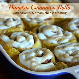 Pumpkin Cinnamon Rolls with Caramel Cream Cheese Frosting