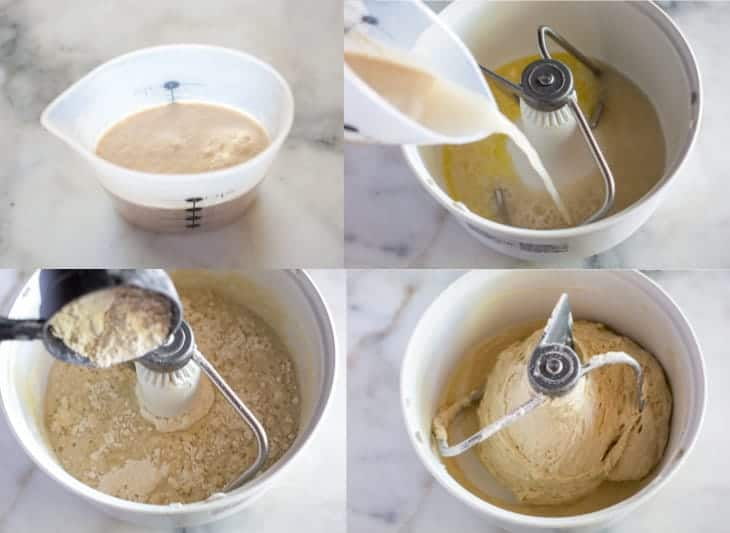 Four process photos for making dough for bread bowls, including the yeast proofing in a measuring cup, added to a stand mixer, flour added and the dough kneaded, resting in the mixer.