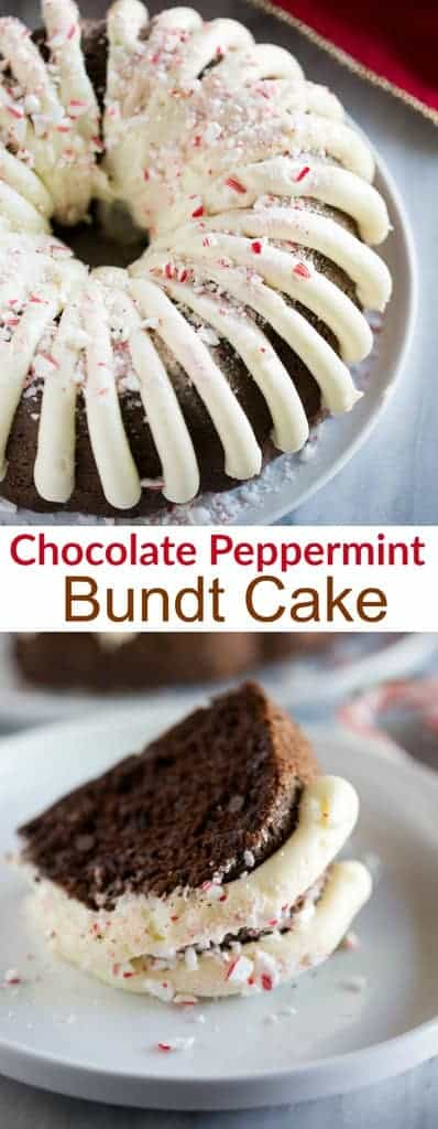 Moist and perfectly delicious Chocolate Peppermint Bundt Cake with cream cheese frosting is an easy Christmas dessert recipe that is sure to be a crowd pleaser! | tastesbetterfromscratch.com
