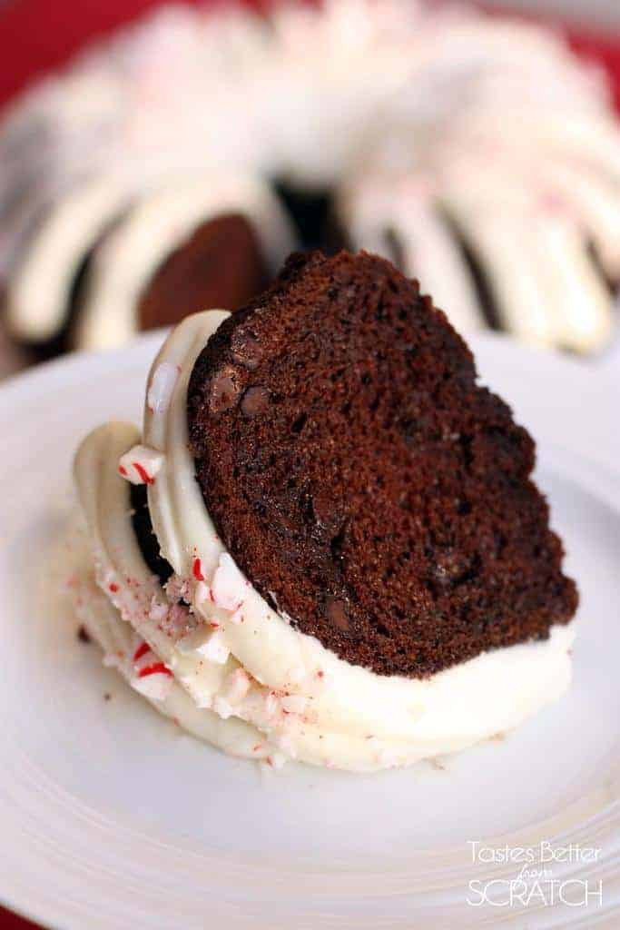 One large slice of chocolate peppermint bundt cake laying on it's side on a white plate.