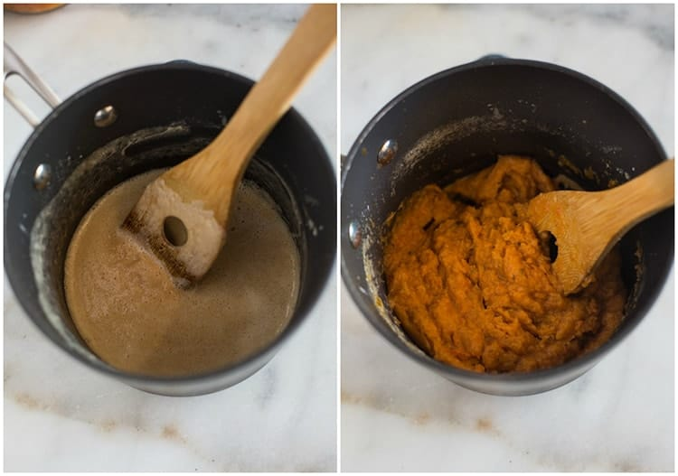 Side by side photos of a roux in a pot and then tomato soup added to the roux pot with a wooden spoon in it.
