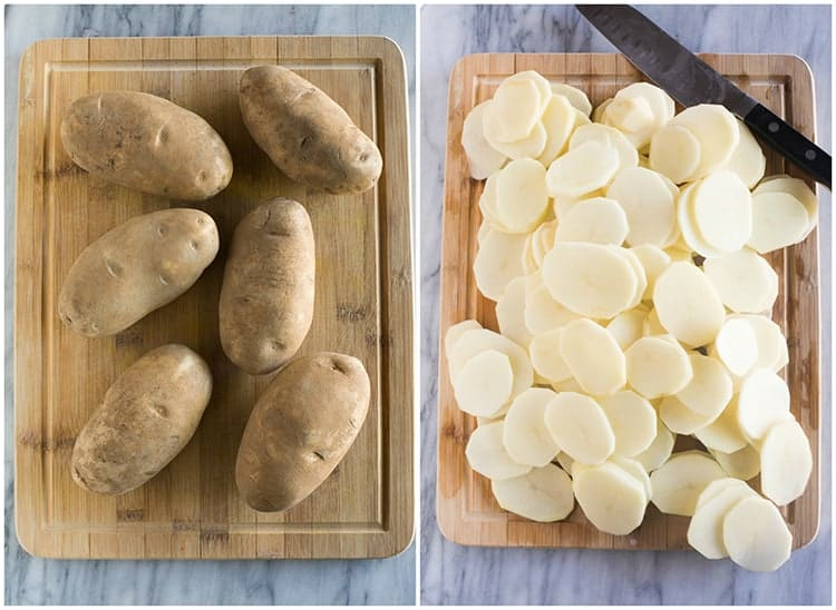 Side by side photos of russet potatoes, whole, on a cutting board and then peeled and sliced resting on the cutting board.