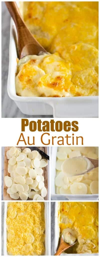 Potatoes Au Gratin made with thinly sliced potatoes, a creamy cheese sauce,  and topped with sharp cheddar cheese. #augratinpotatoes #tastesbetterfromscratch.com