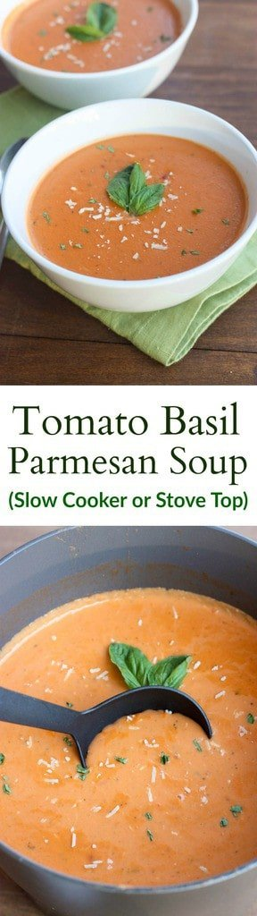 The BEST Creamy Tomato Basil Parmesan Soup you can make in the Slow ...