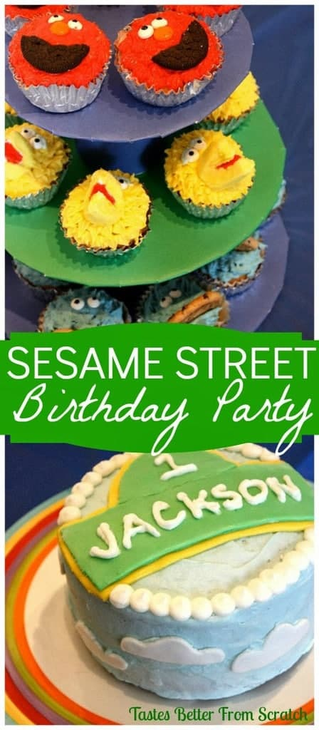 A birthday cake and platter of sesame street themed cupcakes.
