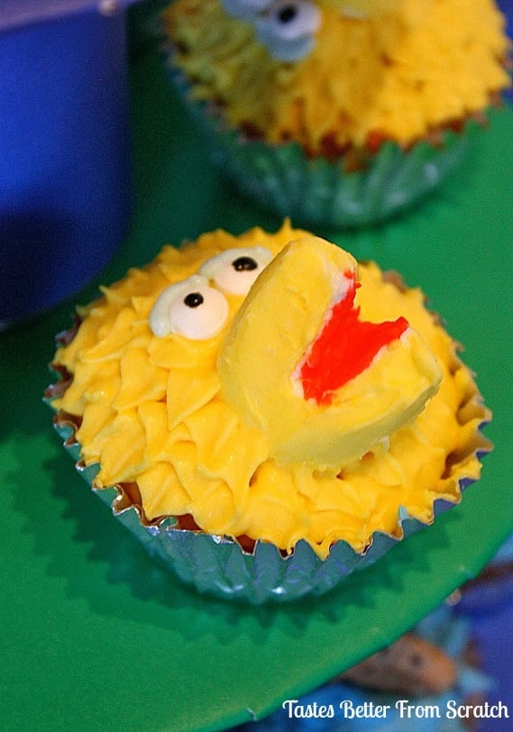 Big bird decorated cupcakes.