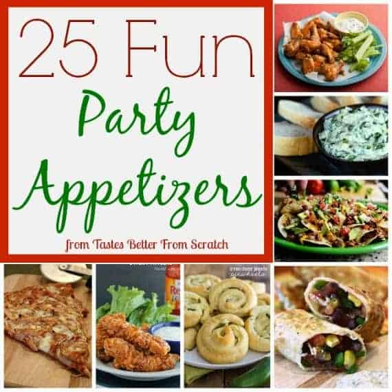 A compilation of Party Appetizers that are perfect for a crowd.  This list includes finger foods and easy appetizers like wings, meatballs, chip dips, lettuce wraps, nachos and more!  #NewYearsEve #easyappetizers #partyappetizers #superbowl #fingerfood