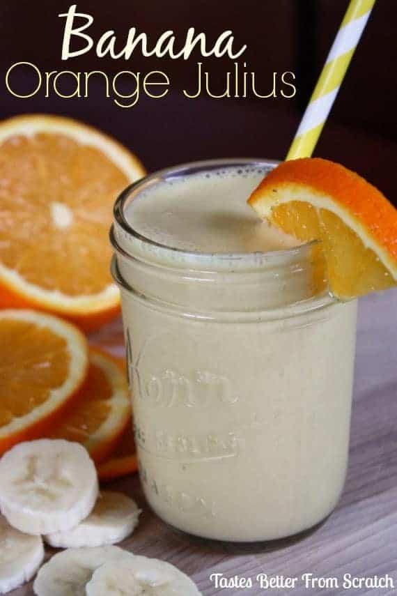 A mason jar filled with banana orange julius.