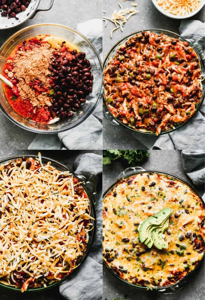 Four process photos for assembling Taco Pie.