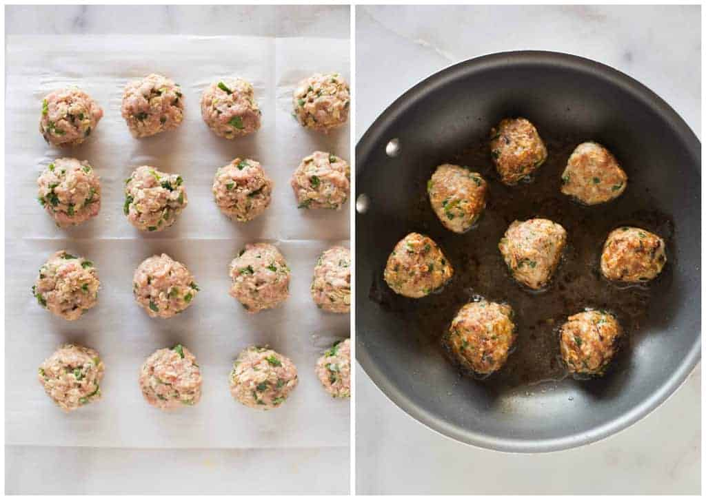 Overhead photos of raw turkey meatballs, lined on a plate, and then added and browned in hot skillet.