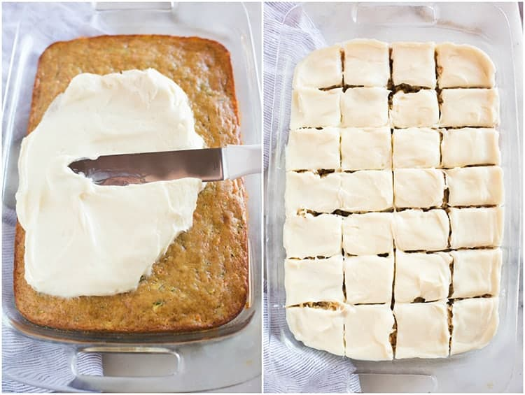 Overhead photo of a cake with cream cheese frosting being spread on it by an offset spatula next to another photo of the cake frosted and cut into squares.