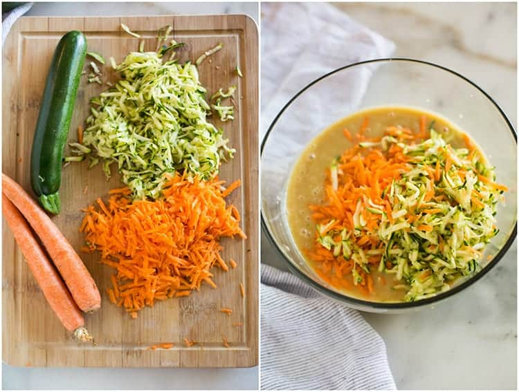 Overhead photo of a cutting bows with whole and grated zucchini and carrots next to a photo of a glass bowl with cake batter and shredded carrot and zucchini.