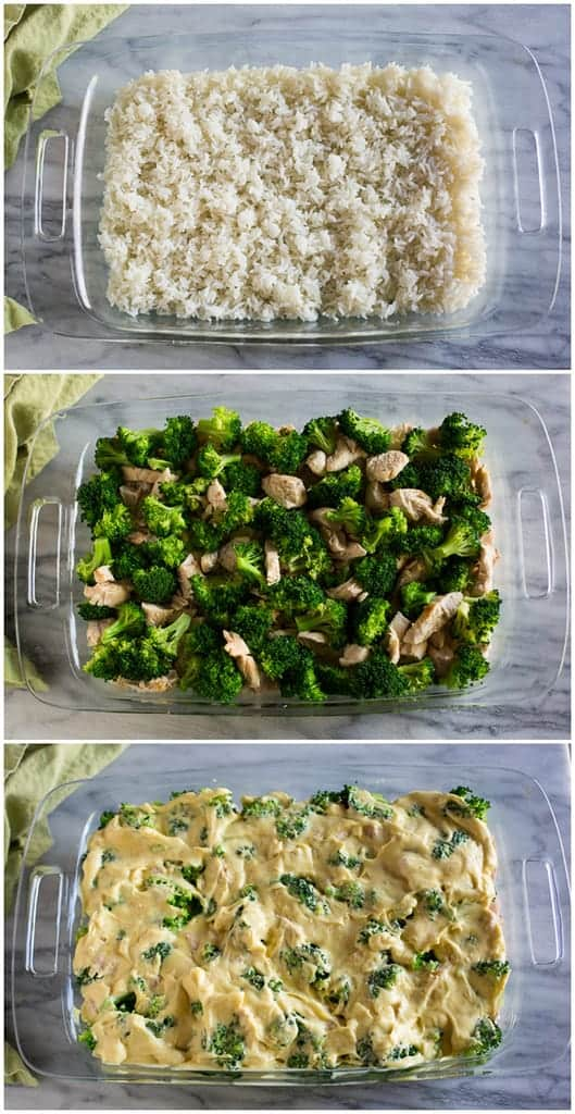 Process photos for making chicken divan including a casserole dish with white rice then topped with chicken and broccoli and then a sauce added.