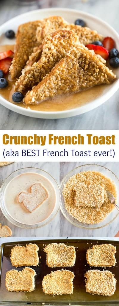 Crunchy French Toast is a cereal crusted french toast recipe that's sure to become a family favorite! #frenchtoast #crunchyfrenchtoast #frenchtoastrecipe #tastesbetterfromscratch #breakfast #easy #kidfriendly #best