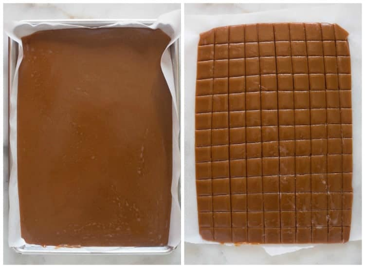 Side by side images of cooked caramels in a sheet pan and caramels cut into small pieces.