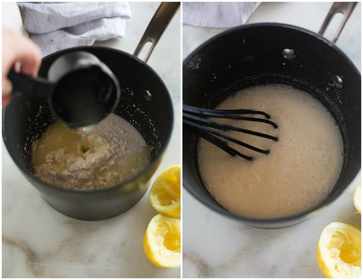 A saucepan with flour, sugar and cornstarch and lemon juice being added to it, then mixed together, to make lemon sour cream pie.