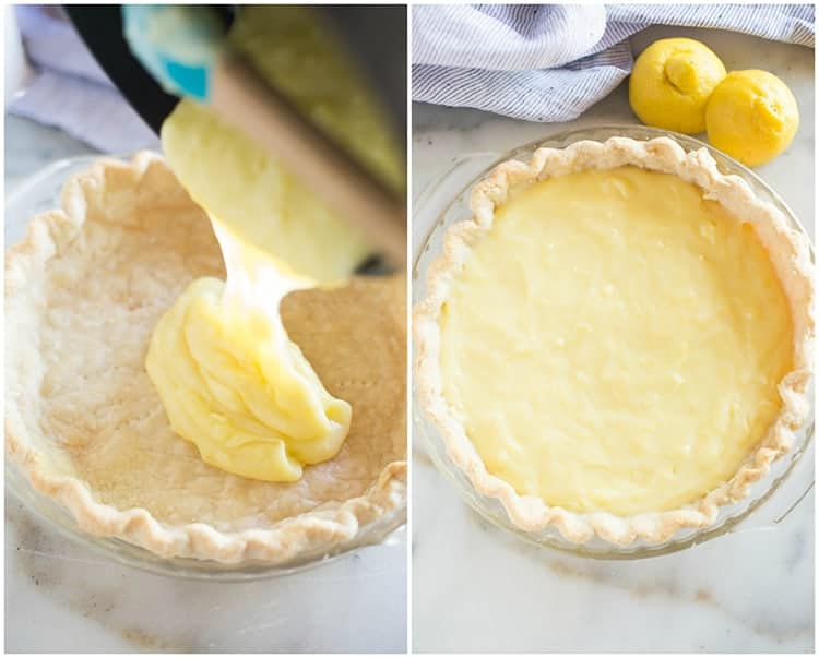 Lemon sour cream pudding poured into a baked pie shell, next to a photo of the filled lemon sour cream pie.