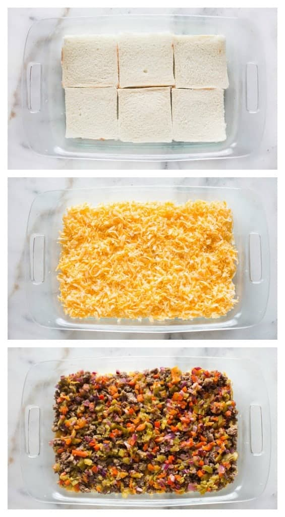 Three process photos for making breakfast casserole, starting with a pan lined with bread slices, then topped with cheese, and finally topped with sausage.