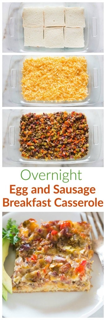 A delicious overnight egg and sausage breakfast casserole that is prepared the night before, and ready to bake in the morning!