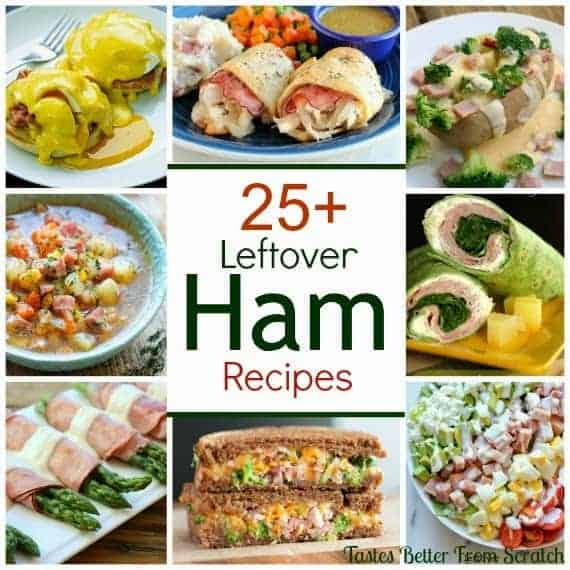 A collage image of several leftover ham recipes.