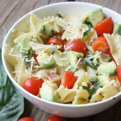 Tomato, Basil, Avocado Pasta Salad