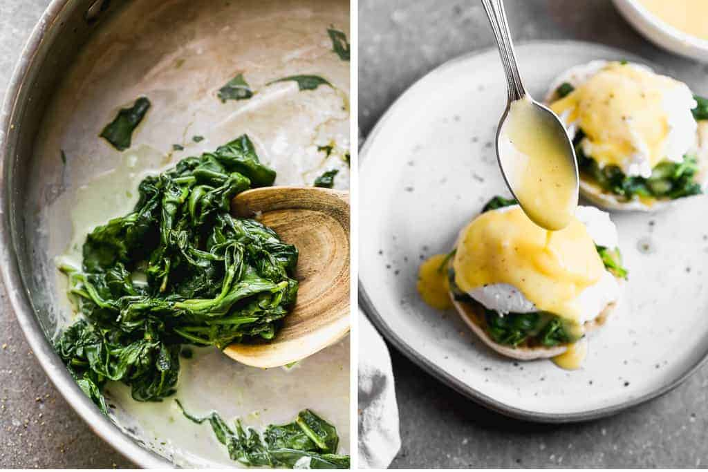 Cook spinach in a skillet next to a plate with an english muffin topped with cooked spinach, poached egg and a spoon drizzling hollandaise sauce on top.