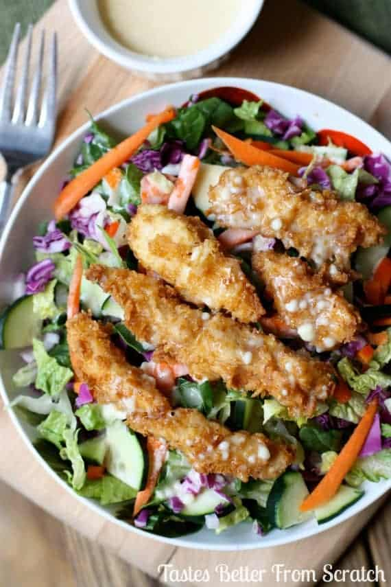Applebee's Oriental Chicken Salad copycat recipe from TastesBetterFromScratch.com