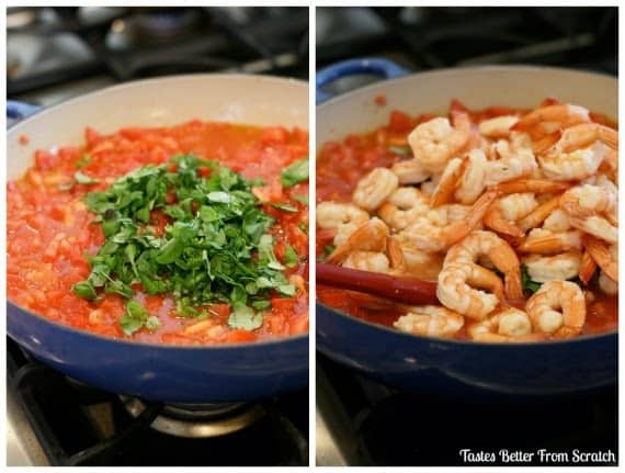 Two side by side photos showing the process of making capellini pomodoro