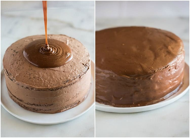A layered round chocolate cake with warm chocolate frosting being poured on top, next to another photo of the final frosted cake.