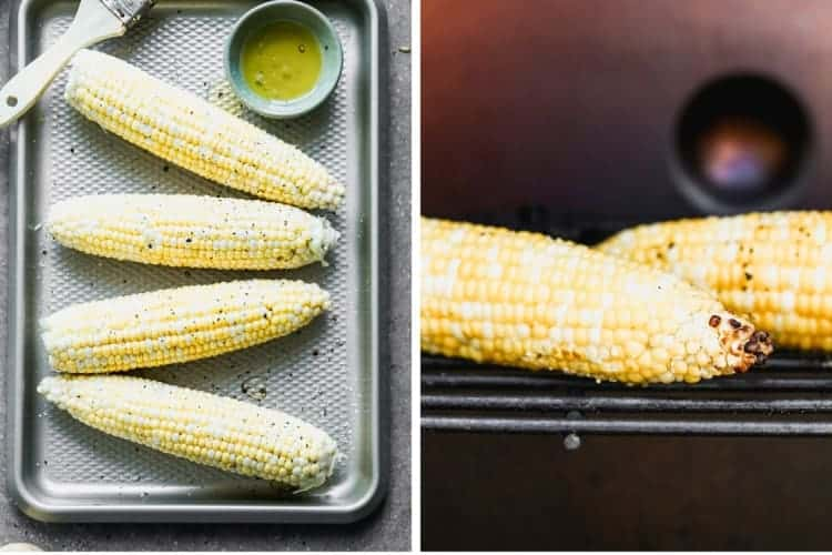 Two process photos for preparing corn ears with olive oil, salt and pepper, then grilling them on the grill.