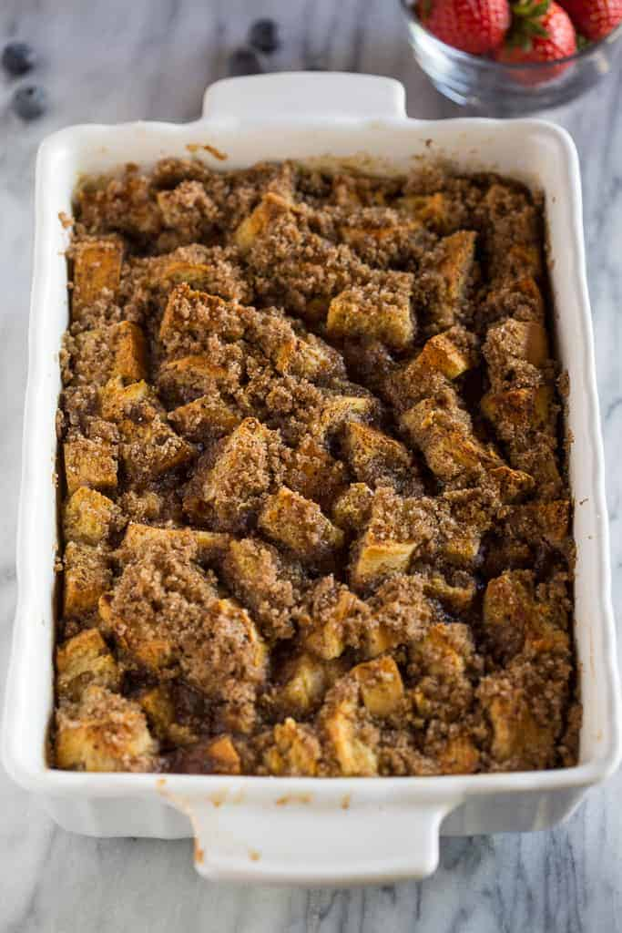 Baked French Toast in a white casserole dish.