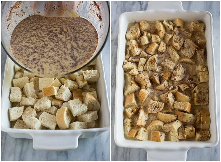 Process photos for making french toast casserole including pouring a milk mixture over pieces of dried bread and mixing everything together in a white casserole dish.