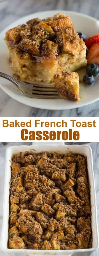 Quick and easy Baked French Toast Casserole you can make the day before and refrigerate overnight so it's ready to bake and enjoy in the morning.  #bakedfrenchtoast  #frenchtoastcasserole #easy #quick #tastesbetterfromscratch.com