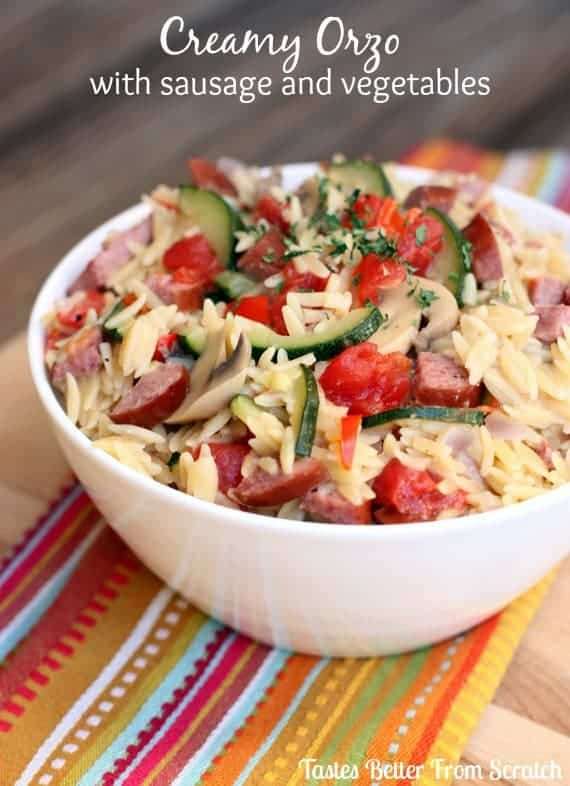 Creamy Orzo with Sausage and Vegetables recipe from TastesBetterFromScratch.com