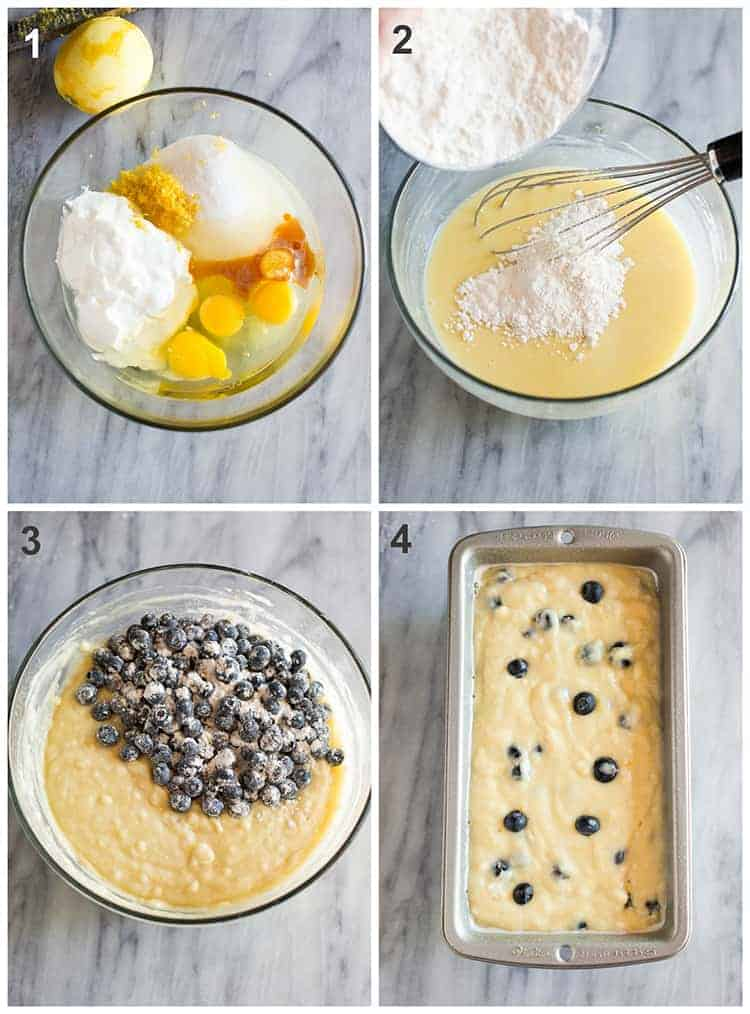 Four process photos for making lemon blueberry bread including the ingredients in a mixing bowl, and then the batter in a bread pan ready to bake.