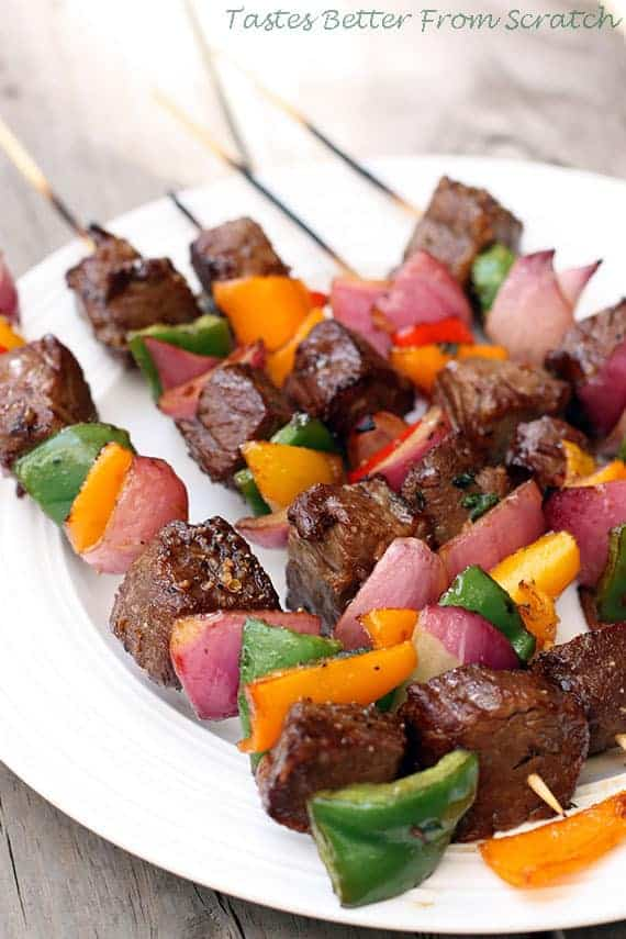 Marinated Steak Kebabs from TastesBetterFromScratch.com