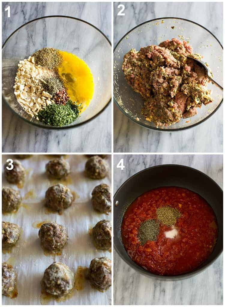 Four process photos for making meatballs and sauce for meatball subs.