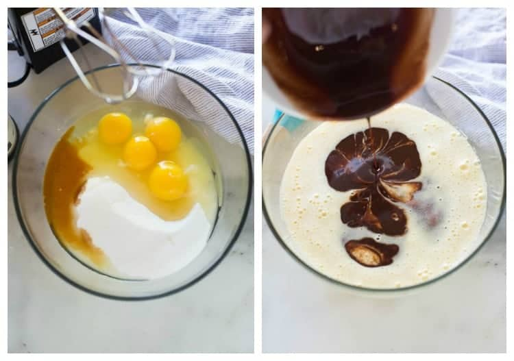 Side by side photos of a glass bowl with the first containing the Ingredients for homemade brownies, and the second with the mixed mixture and melted chocolate being poured into it.