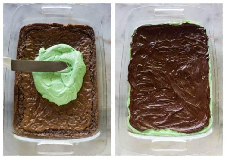 Side by side photos of a glass 9x13'' pan of baked brownies with the first showing green mint frosting being smoothed over the brownies and the next showing melted chocolate smoothed on top of the green frosting.