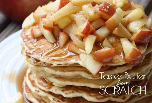 Apple pie pancakes is especially for those of you who love fall!  They are fluffy, sweet, and delicious!  #pancakesrecipe  #applepancakes  #tastesbetterfromscratch.com