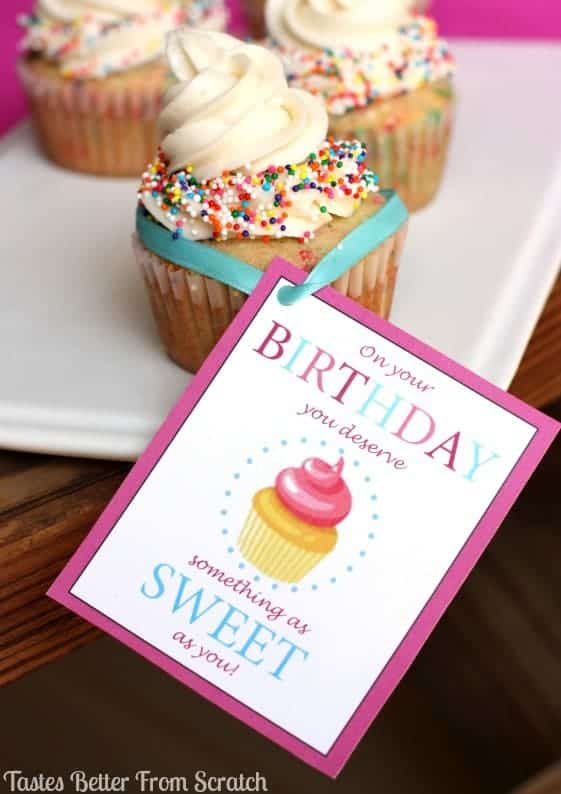 Free Birthday Printable and Funfetti Cupcakes recipe from TastesBetterFromScratch.com