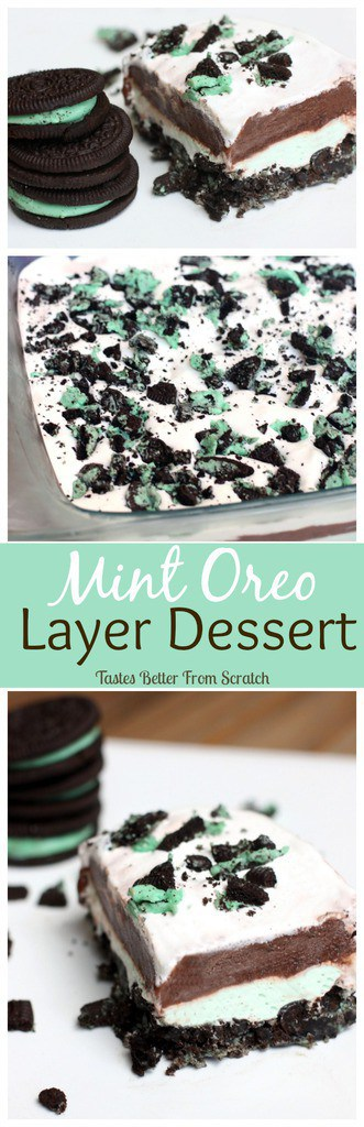 Mint Oreo Layer Dessert is an easy no-bake dessert with layers of mint Oreos, cream cheese, chocolate pudding and Cool Whip!