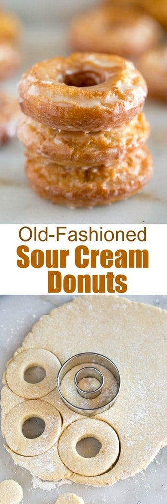 You don't need any fancy equipment or ingredients to make amazing homemade donuts! These old-fashioned sour cream donuts are slightly crisp on the outside and tender in the middle with a simple and delicious donut glaze. | tastesbetterfromscratch.com  #recipe #howtomake # #homemade #donuts #sourcream #easy #best