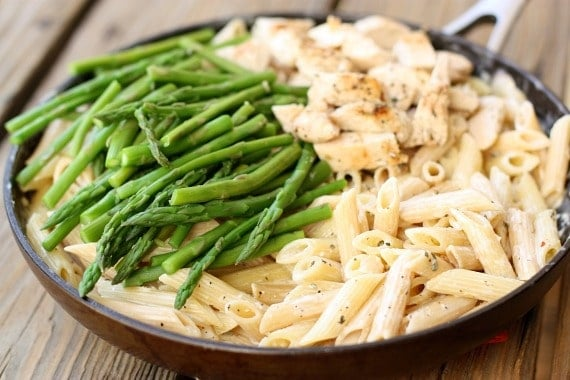 Creamy Chicken and Asparagus Pasta recipe from TastesBetterFromScratch.com