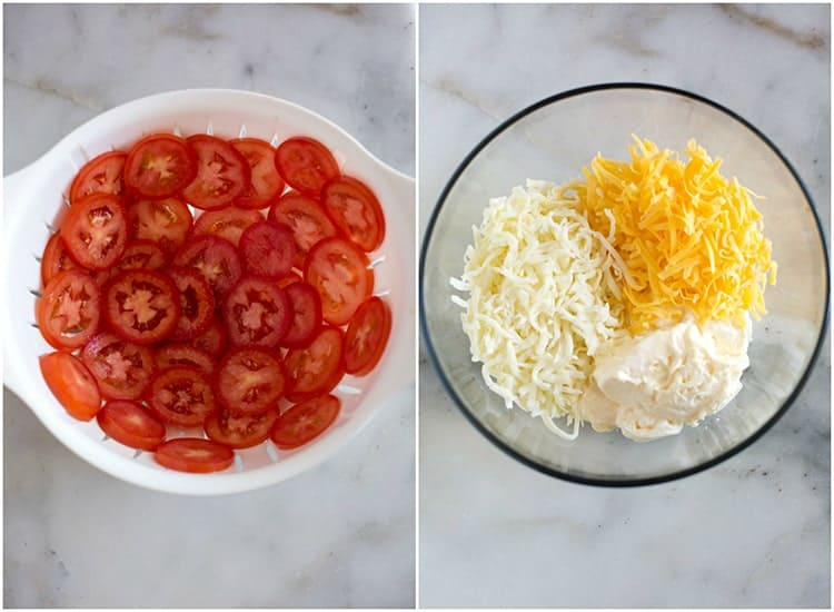 Sliced tomatoes in a white colander, next to another photo of a glass bowl with the topping ingredients for tomato pie, including mayonnaise, cheddar cheese and mozzarella.