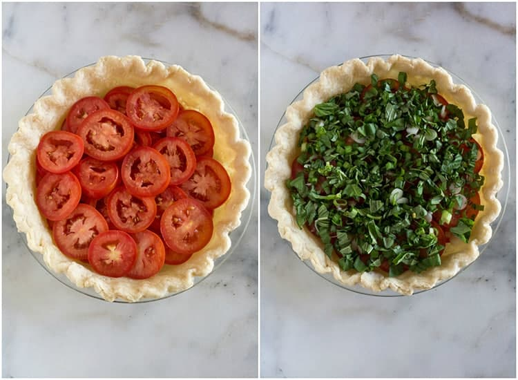 A pre-baked pie crust with slices of tomatoes layered inside, next to another photo of chopped basil and green onion added on top of the tomato slices in the pie dish.