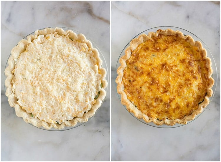 Two overhead photos of a tomato pie, one before it's baked and the other after it's baked and the cheese topping is golden brown.