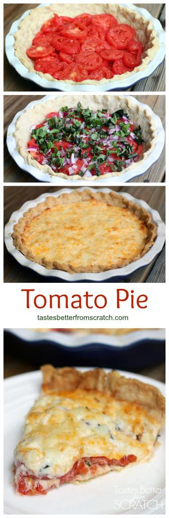 Four vertical images; a pie crust filled with slices of tomatoes; the same crust topped with basil and red onion; a cooked tomato pie with melted cheese on top; a slice of tomato pie on a white plate.