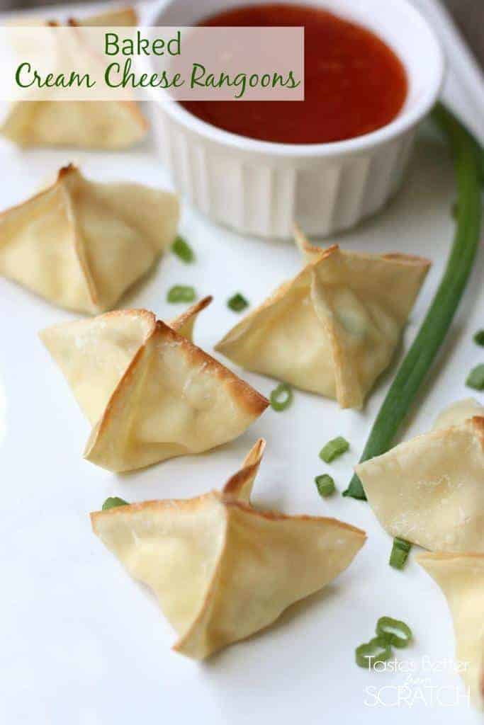 Baked cream cheese rangoons are crispy and cheesy wontons that make a great appetizer. | tastesbetterfromscratch.com