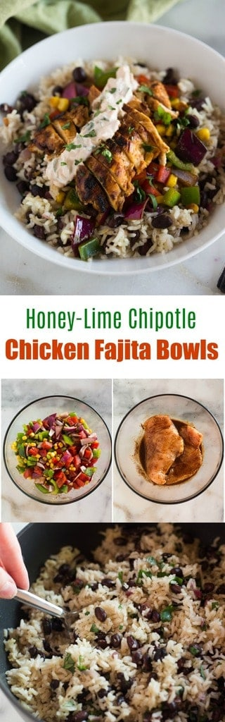 Honey-lime chipotle chicken fajita bowls served over cilantro lime rice with black beans, and topped with a chipotle cream sauce. This recipe is sure to be a family favorite! #chicken #mexican #rice #bowl